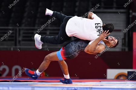 Stock Photo of Mohamed Ibrahim Elsayed (EGY) - Wrestling : Men's Greco-Roman 67kg 3rd place match during the Tokyo 2020 Olympic Games at the Makuhari Messe Hall A in Chiba, Japan.Japan.