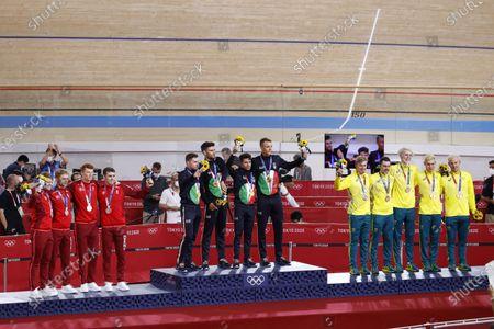 Stock Picture of 13 HANSEL Lasse Norman / 115 MADSEN Frederik / 117 PEDERSEN Rasmus / 14 LARSEN Niklas (DEN) 2nd Silver Medal, 36 CONSONNI Simone / 164 GANNA Filippo / 165 LAMON Francesco / 166 MILAN Jonathan (ITA) Winner Gold Medal, 1 O'BRIEN Kelland / 2 WELSFORD Sam / 80 HOWARD Leigh / 82 PLAPP Lucas (AUS) 3rd Bronze Medal during the Olympic Games Tokyo 2020, Cycling Track Men's Team Pursuit Medal Ceremony
