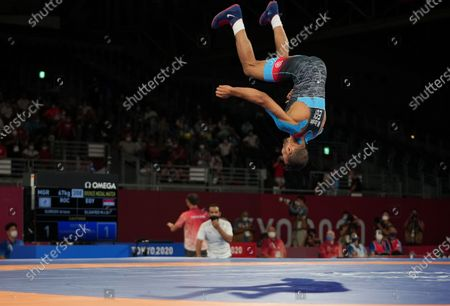 (210804) - CHIBA, Aug 4, 2021 (Xinhua) - Mohamed Ibrahim Elsayed Elsayed of Egypt celebrates after winning the wrestling men's Greco-Roman 67kg Bronze Medal Match against Artem Surkov of ROC at the Tokyo 2020 Olympic Games in Chiba, Japan, Aug 4, 2021.