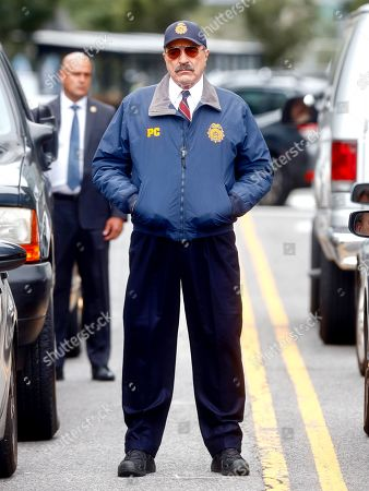 Stock Photo of Tom Selleck is seen at the film set of the 'Blue Bloods' TV Series in New York City