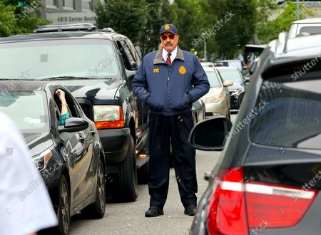 """Tom Selleck is seen on the set of """"Blue Bloods"""""""