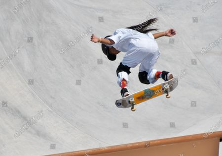 Stock Picture of Japan's Kokona Hiraki performs in the Park Final during the Tokyo Olympics Women's Skateboarding at the Ariake Urban Sports Park in Tokyo, Japan on Wednesday, August 4, 2021.