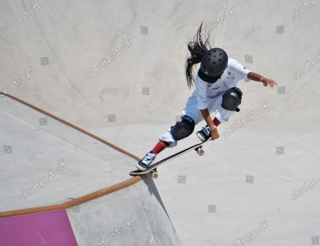 Stock Image of Japan's Kokona Hiraki performs in the Park Final during the Tokyo Olympics Women's Skateboarding at the Ariake Urban Sports Park in Tokyo, Japan on Wednesday, August 4, 2021.