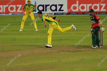 Stock Picture of Australian cricket player Mitchell Starc in action during the second T20 match between Australia cricket team and Bangladesh at Sher e Bangla National Cricket Stadium. Bangladesh won by 5 wickets against Australia.