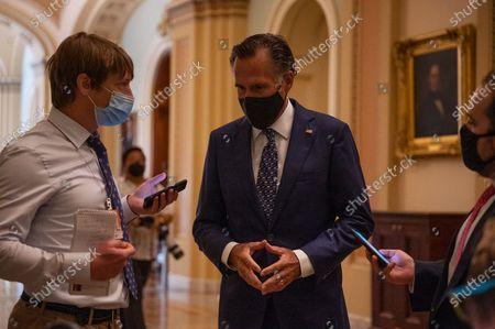 U.S. Senator Mitt Romney (R-UT) speaks with reporters inside the U.S. Capitol in Washington, DC, on August 04, 2021.
