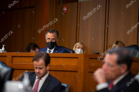 United States Senator Mitt Romney (Republican of Utah) attends a Senate Committee on Foreign Relations business meeting for nominations and legislative considerations in the Hart Senate Office Building in Washington, DC,.
