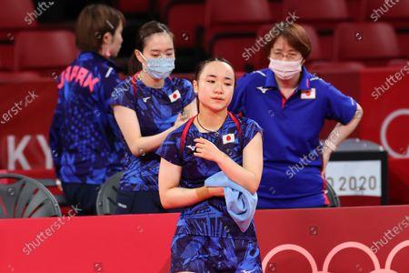 Stock Photo of (L to R)  Miu Hirano, Kasumi Ishikawa,  Mima Ito,  Mika Baba (JPN) - Table Tennis :  Women's Team Final  during the Tokyo 2020 Olympic Games  at the Tokyo Metropolitan Gymnasium in Tokyo, Japan.