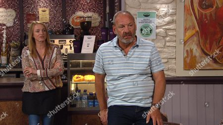 Stock Picture of Emmerdale - Ep 9121 Monday 9th August 2021 Jimmy King, as played by Nick Miles, and Nicola King, as played by Nicola Wheeler, are stunned when Juliette announces the latest bombshell