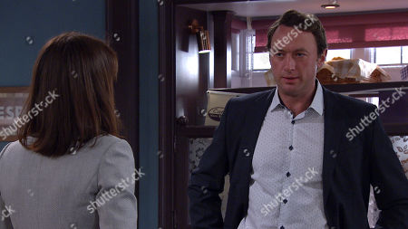 Emmerdale - Ep 9128 Tuesday 17th August 2021 Jacob Gallagher and Leyla Cavanagh, as played by Rokhsaneh Ghawam-Shahidi, in terse talks when Liam Cavanagh, as played by Jonny McPherson, arrives and seems to make things worse for him and Leyla.