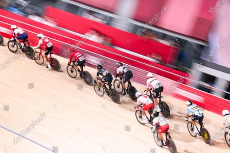 Stock Image of Yauheni Karaliok (BLR),  Matthew Walls (GBR),  Roger Kluge (GER),  Eiya Hashimoto (JPN),  Campbell Stewart (NZL),  Kenny de Ketele (BEL),  Szymon Sajnok (POL),  Thery Schir (SUI) - Cycling : Men's Omnium Points Race 4/4 during the Tokyo 2020 Olympic Games  at the Izu Velodrome in Shizuoka, Japan.