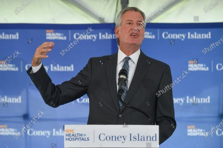 Mayor Bill de Blasio delivers remarks at the Coney Island Hospital Tower Building renaming in honor of Justice Ruth Bader Ginsburg in Brooklyn5 Aug 2021