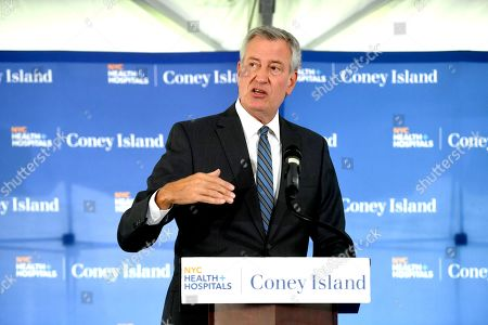 Mayor Bill de Blasio delivers remarks at the Coney Island Hospital Tower Building renaming in honor of Justice Ruth Bader Ginsburg in Brooklyn