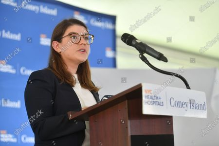 Ruth Bader Ginsburg's Granddaughter, Clara Spera delivers remarks at the Coney Island Hospital Tower Building renaming in honor of Justice Ruth Bader Ginsburg in Brooklyn