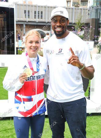 Stock Photo of Gold Medal winning Swimmer Anna Hopkin and Taekwondo athlete Lutalo Muhammad pose for photos as Bridgestone UK Celebrates the Olympic Games Tokyo 2020
