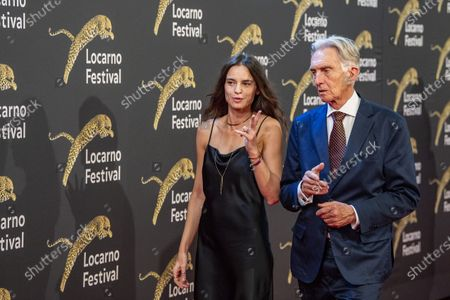 Kasia Smutniak (L), from Poland and Festival Praesident Marco Solari (R), on the Piazza Grande, during the 74th Locarno International Film Festival in Locarno, Switzerland, 06 August 2021. The Festival del film Locarno runs from 04 to 14 August 2021.