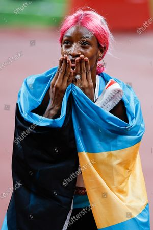 Shaunae Miller-Uibo of the The Bahamas celebrates after winning gold in the Women's 400m finals at Olympic Stadium during the 2020 Summer Olympics in Tokyo, Japan on Friday, August 6, 2021. Shaunae Miller-Uibo of the The Bahamas took gold with a time of 48.36, Marileidy Paulino of the Dominican Republic took silver with a time of 49.20 and Allyson Felix of the United States took bronze with a time of 49.46.