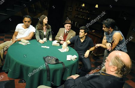 'House of Games' - Peter De Jersey (PJ), Amanda Drew (Trudi), Dermot Crowley (Joey), Michael Landes (Mike), John Marquez (Bobby) and Trevor Cooper (George)