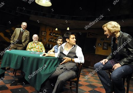 'House of Games' - Dermot Crowley (Joey), Trevor Cooper (George), John Marquez (Bobby), Michael Landes (Mike) and ancy Carroll (Dr Margaret Ford)