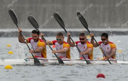 Marcus Walz, Rodrigo Germade, Carlos Arevalo and Saul Craviotto of Spain compete in the men's kayak four 500m semifinal at the 2020 Summer Olympics, in Tokyo, Japan