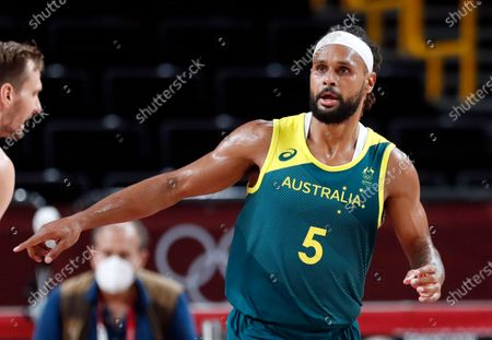 Australia's Patty Mills reacts during the Men's Basketball bronze medal match between Slovenia and Australia at the Tokyo 2020 Olympic Games at the Saitama Super Arena in Saitama, Japan, 07 August 2021.