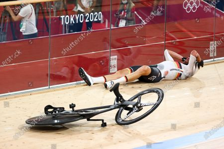 Roger Kluge of Germany after crashing in the in the men's Madison final