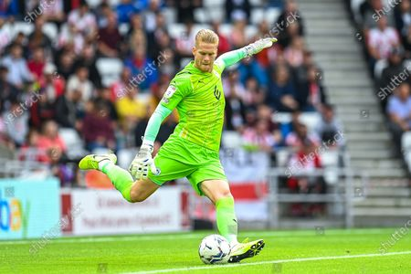 Ben Amos (#12) of Wigan Athletic FC during the EFL Sky Bet League 1 match between Sunderland AFC and Wigan Athletic at the Stadium Of Light, Sunderland