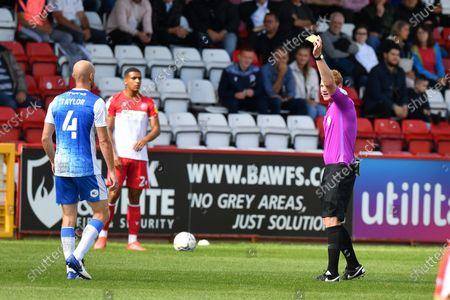 Jason Taylor of Barrow AFC Receives a Yellow Card during Stevenage vs Barrow, Sky Bet EFL League 2 Football at the Lamex Stadium on 7th August 2021