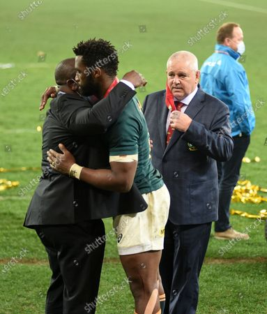 Warren Gatland - British & Irish Lions head coach walks over to congratulate South Africa captain Siya Kolisi after the Springboks beat the Lions 19-16 in the third test to win the series 2-1.