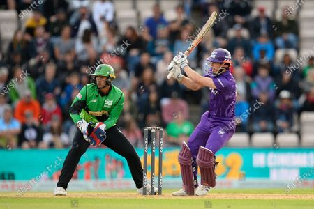 John Simpson of Northern Superchargers plays an attacking shot during the The Hundred match between Southern Brave and Northern Superchargers at the Ageas Bowl, Southampton
