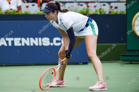 Christina McHale (USA) waits for service during the WTA National Bank Open qualifying round match at IGA Stadium in Montreal, Quebec