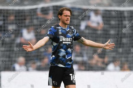 Richard Stearman of Derby Bounty warms up ahead of kick-off during the Sky Bet Championship match between Derby County and Huddersfield Town at the Pride Park, Derby, England on 7th August 2021.
