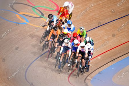 Elisa Balsamo (ITA),  Annette Edmondson (AUS),  Clara Copponi (FRA),  Jiali Liu (CHN),  Olivija Baleisyte (LTU),  Jennifer Valente (USA),  Yumi Kajihara (JPN),  Kirsten Wild (NED),  Amalie Dideriksen (DEN),  Maria Martins (POR),  Holly Edmondston (NZL),  Mariia Novolodskaia (ROC) - Cycling : Women's Omnium Elimination Race 3/4 during the Tokyo 2020 Olympic Games  at the Izu Velodrome in Shizuoka, Japan.