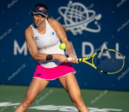 San Jose, CA USA Danielle Collins of United States returns a shot during the Mubadala Silicon Valley Classic Semifinals Evening Match between Ana Konjuh( CRO) vs Danielle Collins ( USA ) at San Jose State University San Jose Calif. Thurman James / CSM