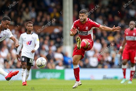 Sam Morsy (5) of Middlesbrough during the EFL Sky Bet Championship match between Fulham and Middlesbrough at Craven Cottage, London