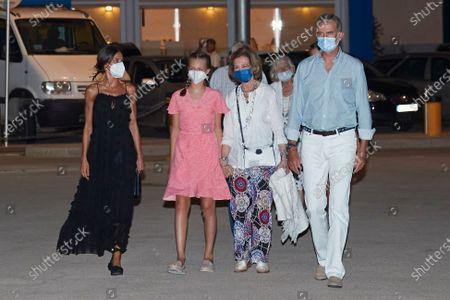 King Felipe VI of Spain, Queen Letizia of Spain, Princess Leonor of Spain, Queen Sofia, Princess Sofia of Spain and Princess Irene of Greece leave 'Ola de Mar' restaurant after a family dinner on August 07, 2021 in Palma de Mallorca, Spain.