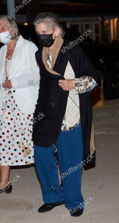 Princess Irene of Greece leave 'Ola de Mar' restaurant after a family dinner on August 07, 2021 in Palma de Mallorca, Spain.