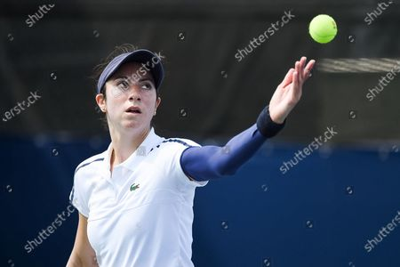 Christina McHale (USA) serves the ball during the WTA National Bank Open qualifying round match at IGA Stadium in Montreal, Quebec