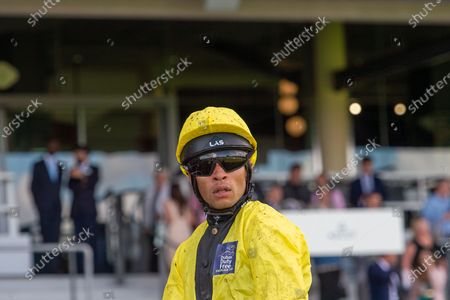 Jockey Sean Levey on horse Sam Cooke after riding in the Dubai Duty Free Shergar Cup Challenge