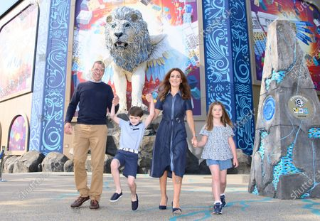 Stock Photo of LEGO® MYTHICA receives the royal seal of approval as The Duke and Duchess of Cambridge's look-a-likes enjoy a mythical summer day out with Prince George and Princess Charlotte at the LEGOLAND® Windsor Resort.