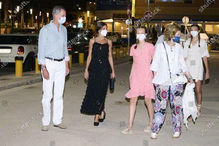 King Felipe VI and Queen Letizia and Princess Leonor and Princess Sofia and Former Queen Sofia and Irene of Greece leaving Ola de Mar after a family dinner at Ses Voltes on Palma de Mallorca.