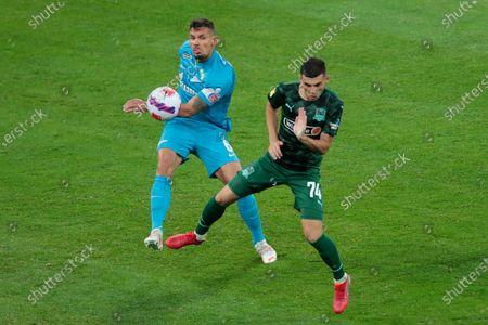 Defender Dejan Lovren of FC Zenit and Midfielder Eduard Spertsyan of FC Krasnodar in action