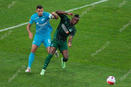 Defender Dejan Lovren of FC Zenit and Forward Jhon Córdoba of FC Krasnodar in action