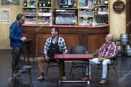 """(G-D) Bastien Clavel, Christian Vadim, Vincent Lagaf', in the play """"Pair et Lack"""" on the festival """"Les Nuits de Robinson"""" at the Centre Expo Congres, Mandelieu-La-Napoule"""