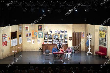 """(G-D) Bastien Clavel, Christian Vadim, Nadege Meziat, Vincent Lagaf', in the play """"Pair et Lac"""" on the festival """"Les Nuits de Robinson"""" at the Centre Expo Congres, Mandelieu-La-Napoule"""