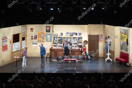 """(G-D) Vincent Lagaf', Bastien Clavel, Christian Vadim, Nadege Meziat, in the play """"Pair et Lac"""" on the festival """"Les Nuits de Robinson"""" at the Centre Expo Congres, Mandelieu-La-Napoule"""