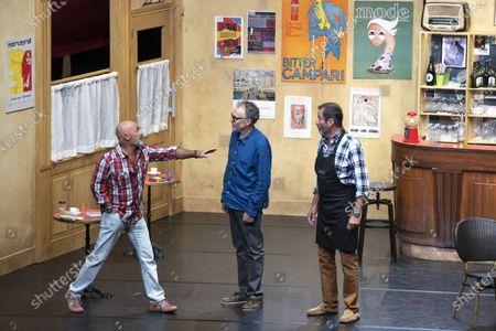 """(G-D) Vincent Lagaf', Bastien Clavel, Christian Vadim, in the play """"Pair et Lack"""" on the festival """"Les Nuits de Robinson"""" at the Centre Expo Congres, Mandelieu-La-Napoule"""