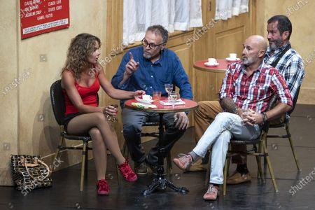 """(G-D) Nadege Meziat, Bastien Clavel, Christian Vadim, Vincent Lagaf', in the play """"Pair et Lac"""" on the festival """"Les Nuits de Robinson"""" at the Centre Expo Congres, Mandelieu-La-Napoule"""