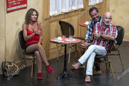 """(G-D) Nadege Meziat, Christian Vadim, Vincent Lagaf', in the play """"Pair et Lack"""" on the festival """"Les Nuits de Robinson"""" at the Centre Expo Congres, Mandelieu-La-Napoule"""