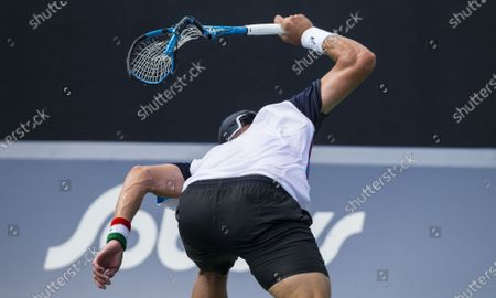 (210809) - TORONTO, Aug 9, 2021 (Xinhua) - James Duckworth of Australia reacts during the second round of men's qualifying singles match against Peter Polansky of Canada at the 2021 National Bank Open in Toronto, Canada, Aug 8, 2021. James Duckworth won 2-1.