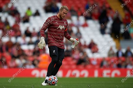 Stock Photo of Loris Karius of Liverpool during the warm-up before the pre-season friendly match between Liverpool FC and CA Osasuna at Anfield on August 9, 2021 in Liverpool, England.